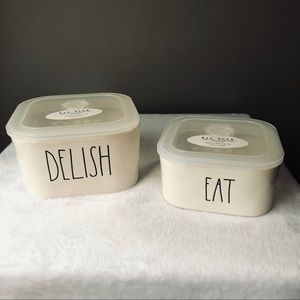 NEW!!  Rae Dunn set of 2 storage containers!